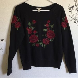 Rose Embroidered Sweater